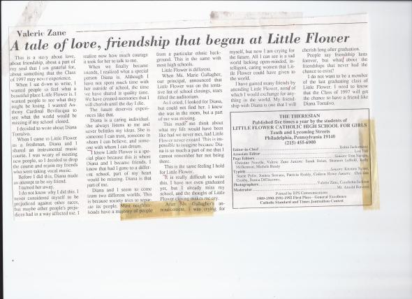 Val's Little Flower HS Article about Diana